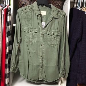 NWT AE Military Button Down Shirt